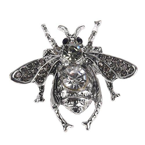Inset Frauen Oben (CUHAWUDBA Vintage Inset Biene Brosche Strass Biene Broschen Kleine Revers Ton Bug Fly Bee Silber)