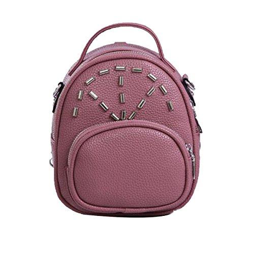 Donne Rivetto Di Moda Struttura Litchi Elegante Piccolo Zainetto Borsa In Pelle Purple