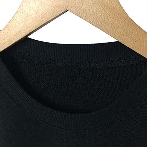 BLACKMYTH Femme Col Rond Casual Sweatshirts Manches Longues Impression Drôle Pullovers Noir