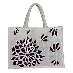 Utsav Kraft Brown Floral Print on Premium White background Designer Jute Bag, 38*28*10 cm