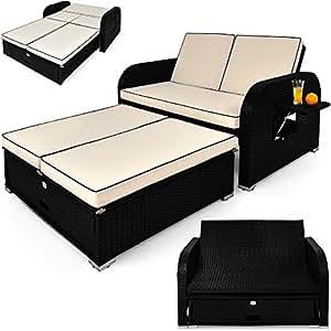 Poly rattan garden furniture sofa storage bench outdoor for Sofas de ratan para jardin
