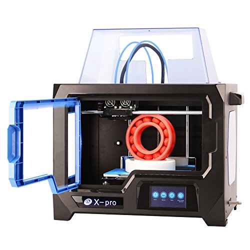 Qidi Tech 3D Printer, New Model: X-pro, 4.3 Inch Touchscreen, Dual Extruder With 2 Spool of Filament,Works With ABS And PLA