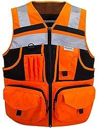 9c8968f59db 3M Chaleco de seguridad con rayas reflectantes de alta visibilidad, chaleco  de punto naranja con 10 bolsillos, ropa…