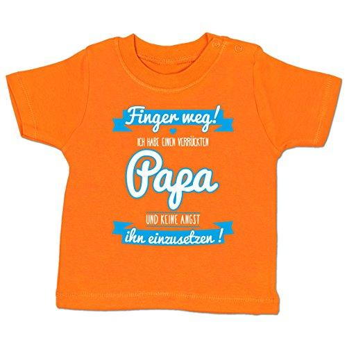 Shirtracer Sprüche Baby - Ich Habe Einen Verrückten Papa Blau - 3-6 Monate - Orange - BZ02 - Babyshirt Kurzarm (Ich Tun Daddy)