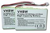 2 x Batterie VHBW 400mAh per Telefono cordless Grundig Tesis, Tesis A, come T306 / 4M3EMJZ / F6M3EMX