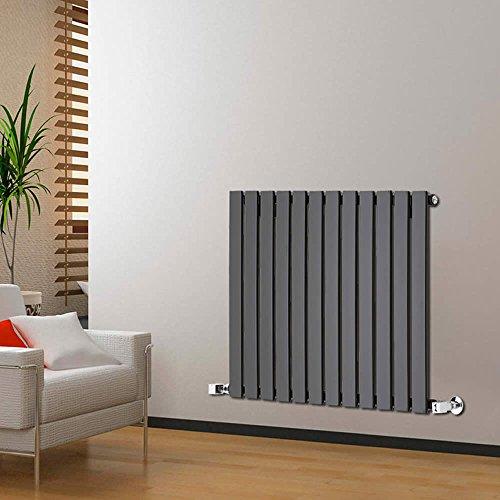 Milano Radiador de Diseño Horizontal - Negro Lúcido- 635mm x 840mm x 46mm - 751 Vatios - Delta