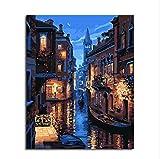 Diy Ölfarbe von Nummer Kit, Malerei Malerarbeiten Venedig Nacht Zeichnung mit Pinsel 16 * 20 Zoll Weihnachten Dekor Dekorationen Geschenke (mit Rahmen)