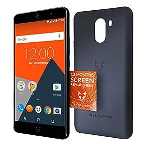 Wileyfox Swift 2 Plus Smartphone Débloqué 4G (Ecran : 5 pouces - 3Go RAM - 32 Go - Double SIM - Android 7.1.1) - Midnight Blue avec etui de portable et remplacement d'écran