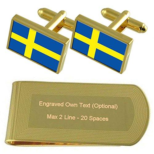 Schweden Flagge Gold-Manschettenknöpfe Geldscheinklammer Gravur Geschenkset