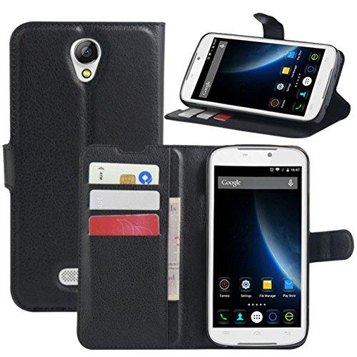 Doogee X6 Hülle, Doogee X6 Pro Hülle, HualuBro [All Around Schutz] Premium PU Leder Wallet Flip Handy Schutzhülle Tasche Case Cover mit Karten Slot für Doogee X6 / Doogee X6 Pro Smartphone (Schwarz)