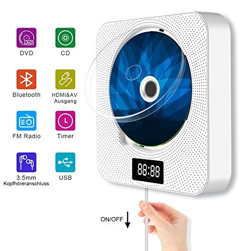 Jimwey CD Player Bluetooth DVD Player Wandmontager Lautsprecher MP3 Spieler USB Musikplayer für Kinder Mädchen mit Abdeckung Radio Timimg LED Display HDMI AV Ausgang 3,5mm Kopfhörerbuchse Weiß
