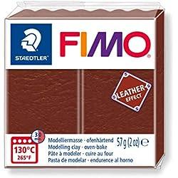 Staedtler 8010-779 Fimo Leather-Effect ofenhärtende Modelliermasse (für kreative Objekte im Leder-Look, lederähnliche Optik und Haptik) Farbe nuss