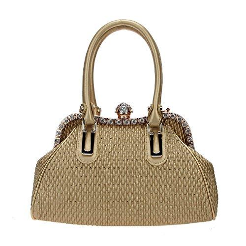 Pu Shoulder Tote Bag (Bonjanvye Spherical Crystal Ball Women Handbags Pu Leather Tote Shoulder Bags Gold)