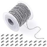 PP OPOUNT - Cadena de bolas de acero inoxidable de 2,4 mm, incluye 1 rollo de cadena de bolas de 48 pies y 30 conectores a juego