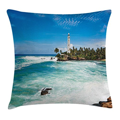 illow Cushion Cover, Tropical Island Lighthouse with Palm Trees Rocks Wavy Seaside Beach Ocean, Decorative Square Accent Pillow Case,Blue White Green 18x18inch ()