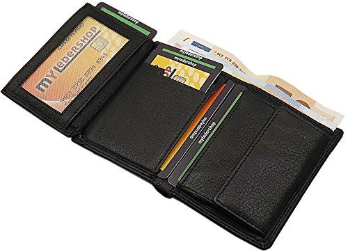 Kleine Echt Leder Geldbörse in Quer- oder Hochformat in Schwarz (Modell 1 / Hochformat)