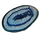 Achatscheibe blau schön transparent groß Länge ca. 100 - 130 mm Breite ca. 90 - 110 mm.(4896)
