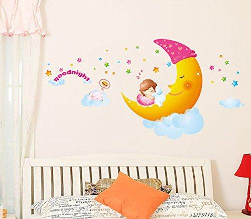 Mädchen Für Wandbilder (ufengke® Süße Träume Kleine Mädchen Schlafen Auf Dem Mond Wandsticker,Kinderzimmer Babyzimmer Entfernbare Wandtattoos Wandbilder (L))