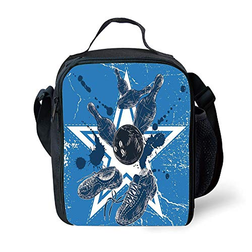 MLNHY School Supplies Bowling Party Decorations,Grunge Composition Star Figure Color Splashes Shoes Pins,Blue Black White for Girls or Boys Washable
