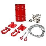 MagiDeal Öl Behälter Öltrommel + Anhängerkupplung Kettenhaken Set für 1/10 Rc Axiale Scx10 Cc01 Rc4wd