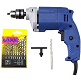 Khadija Damier 10mm 450W Drill Machine with 1 Masonry Bit and 13 Piece HSS Drill Set (Multicolour)