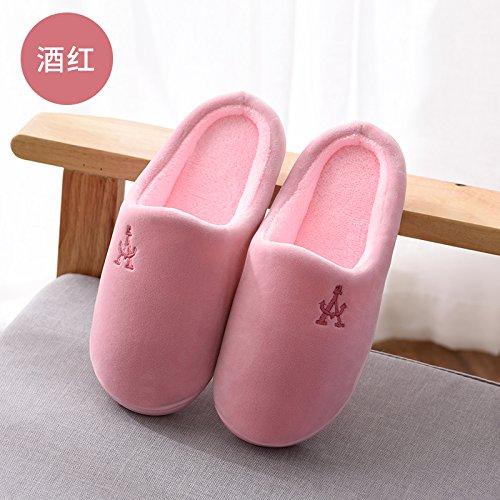 Zapatillas Doghaccd, Paquete Hombre Otoño Invierno Con Zapatillas De Algodón Hogar Cálido Con Gruesas Antideslizantes Interiores Y Exteriores Gran Número De Zapatos De Mujer El Vino Es Color Rojo3