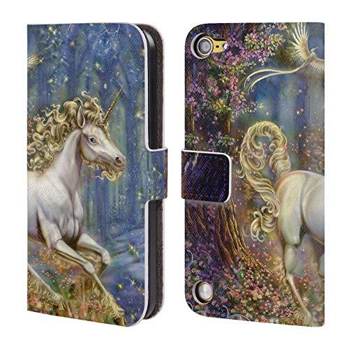 Head case designs ufficiale myles pinkney unicorno mitologico cover in pelle a portafoglio compatibile con ipod touch 5g 5th gen