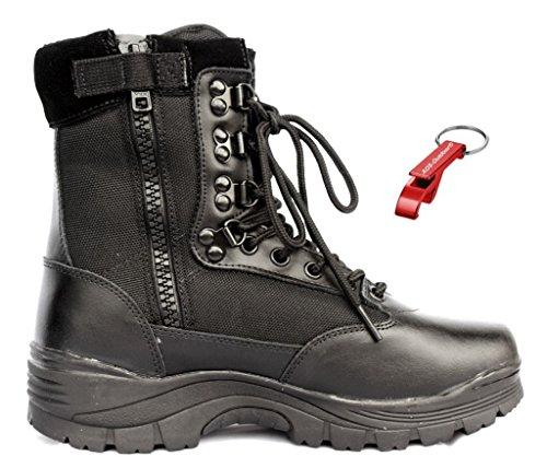 Tactical Boot mit YKK-Zipper + AOS-Outdoor® Schlüsselanhänger schwarz 44 (Herren Action-sport-schuhe)