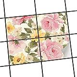 creatisto Badfliesen | Deko-Dekorsticker Fliesen-Aufkleber Küchen-Folie Wanddeko | 25x20 cm Muster Ornament Vintage Flowers - 4 Stück