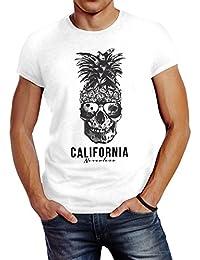 Neverless Cooles Herren T-Shirt Pineapple Skull Sonnenbrille Ananas Totenkopf  Slim Fit 169e5daf4c