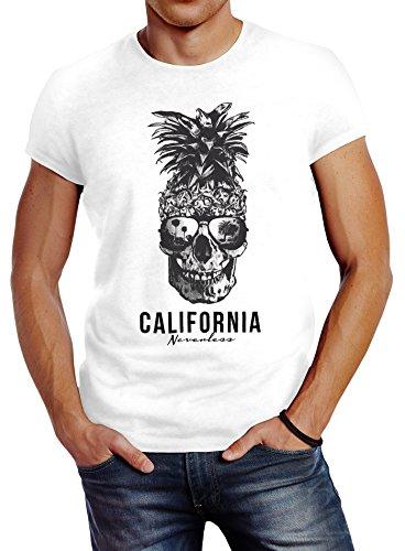 Neverless Cooles Herren T-Shirt Pineapple Skull Sonnenbrille Ananas Totenkopf Slim Fit Weiß M