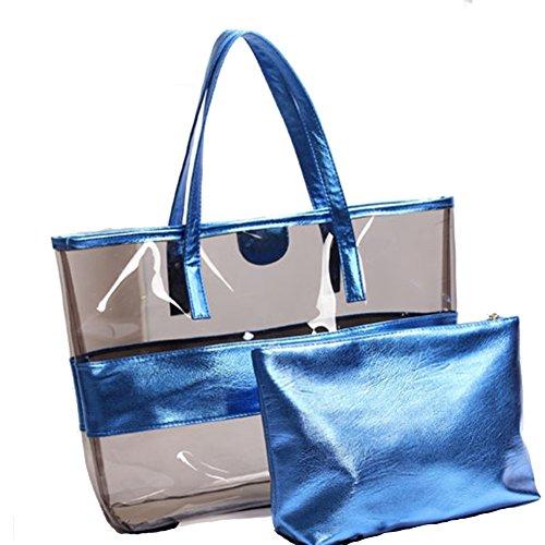 Windwelle Damen Fashion Freizeit 2-Tasche Handbag PVC Sandstrand Handtasche Semi-clear Tragetasche Wasserdicht (Blau) Blau