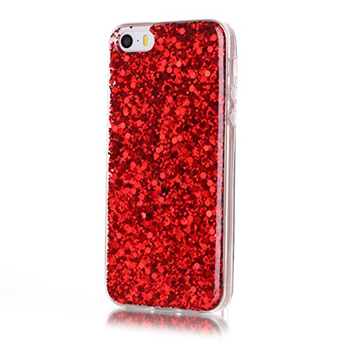 iPhone SE Hülle,iPhone 5S Hülle,iPhone 5 Hülle,SainCat iPhone SE/5S/5 Silikon Hülle Tasche Handyhülle Cute Bear Muster Bling Diamant Schutzhülle Transparent TPU Gel Case Bumper Weiche Crystal Kirstall Farbe Flash-Chip Rote
