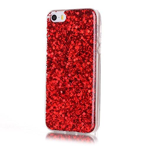 Für iPhone 5/5S/SE 4 Zoll Soft Rubber Gel TPU Cover,Herzzer Modische Lovely und Sparkly Sequins Crystal Designer Shockproof Stoßdämpfer Transparent Silikon TPU Case Schutzhülle + 1 x Free Handy Halter Rot