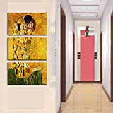 NLZNKZJ Quadro su Tela Stampe Immagini Decorazioni per la casa, Gustav Klimt Dipinti Wall Art per Soggiorno Quel Primo Bacio Poster 50x100cmx3 Senza Cornice