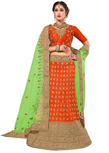 Nivah Fashion Silk Lehenga Choli (Orange_Free Size)