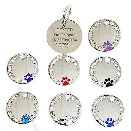 Gravur personalisierbar ID Tieranhänger, Glitzer-Kristall mit Pfote Design Qualität 27 mm Hund-Tag – Kostenlose Gravur -