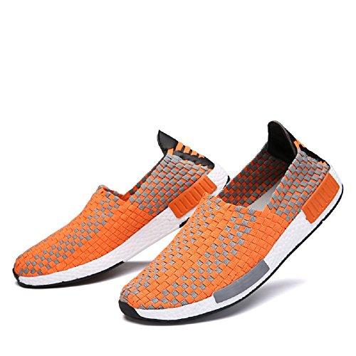 Peggie House Sport Chaussures De Couple Modèles Tissé Chaussures Casual Hommes Et Femmes Chaussures tissées Taille: 35-44 orange & blanc