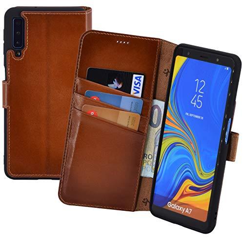 Suncase Book-Style kompatibel mit Samsung Galaxy A7 (2018) Hülle (Slim-Fit) Leder Tasche Handytasche Schutzhülle Case (mit Standfunktion und Kartenfach - Bruchfester Innenschale) in Burned - Cognac