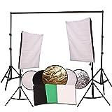 ETiME Fotostudio Set Studioleuchte 2,8 x 3M Hintergrundsystem mit Hintergrundstoff 2x 135W Fotolampe 3x Hintergrundstoff 2x Softbox 2x Stativ 5 in 1 Reflektor Ø110cm