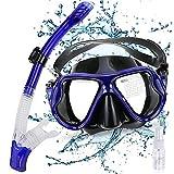 Gifort Schnorchelset, Schnorchelmaske, Tauchmasken mit Anti-Fog Taucherbrille und Schnorchel inkl. Ausblasventil und Anti-Fog Tachermaske aus Gehärtetem Glas für Erwachsene