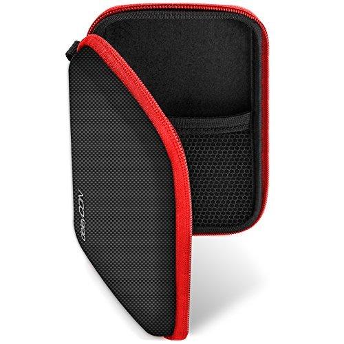 deleyCON Navi Tasche Navi Case Tasche für Navigationsgeräte - 4,3 Zoll & 5 Zoll (14,6x9,3x3,4cm) - Robust Stoßsicher 2 Innenfächer - Schwarz Rot