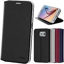 doupi Deluxe Flipcover - Carcasa/Funda magnética para Samsung Galaxy S6, Protector de cuero artificial. Negro