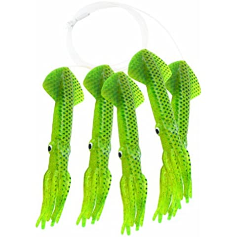 Mold Craft Scaled Squid Daisy Chain, 9-Inch, Chartreuse with Blue Scales