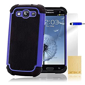 32nd Shock Proof Defender Heavy Duty Protective Case Cover for Samsung Galaxy S3 Siii - Deep Blue