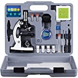 AmScope M30-ABS-KT2-W Beginner Microscope Kit, LED and Mirror Illumination, 300X, 600x, and 1200x Magnification, Includes 49-Piece Accessory Set and Case, White by AmScope