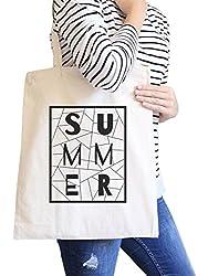 Summer Geometric All-Purpose Heavy Cotton Natural Canvas Tote Bag