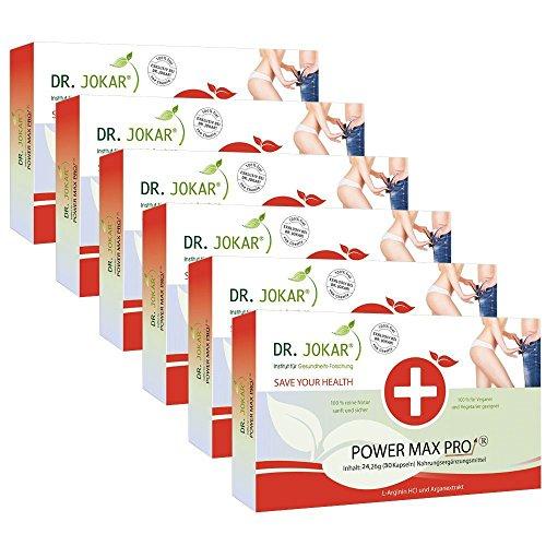 Power Max Pro ORIGINAL. Dr. Jokar Potenzmittel 6-Monate (6 x 30 Potenz-Kapseln.) mit L-Arginin, Arganöl für Potenz, Libido und besseren Sex. Kostenlose Lieferung