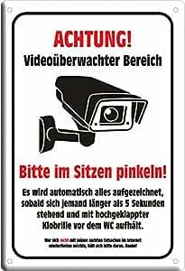 """Amazon.de: Blechschild """"Videoüberwacht - Bitte im Sitzen"""