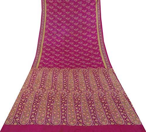 Sari Aus Reiner Seide (Vintage Indian Sari Magenta Craft Stoff Aus Reiner Seide Mit Blumenmuster Saree 5 Yards)